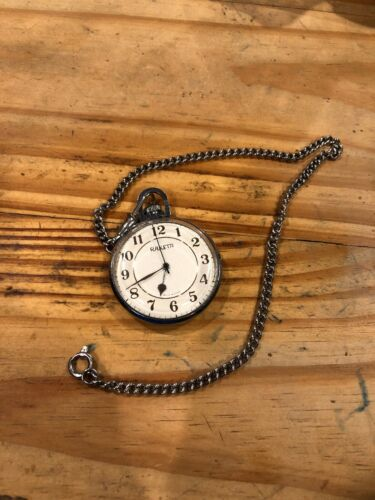 VINTAGE RARE RAKETA SHIP ON BACK USSR SOVIET POCKET WATCH WCHAIN WORKS TESTED