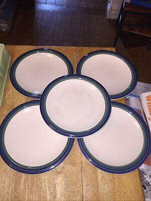 """5 Pfaltzgraff OCEAN BREEZE Blue/Green Dinner Plates 10"""""""