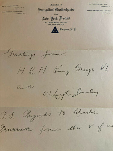 RARE! H.R.H. King George VI Hand Written Letter Super Cool