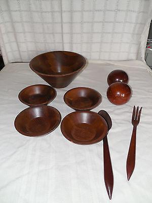 Vintage walnut salad bowl set 9pc tooth pick -