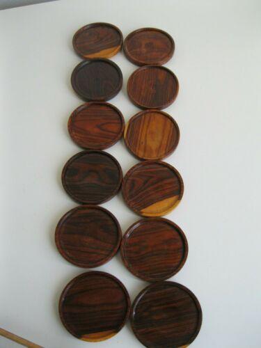 vintage 12 Wood Coasters Handmade