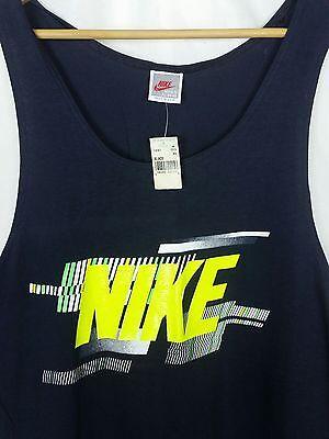 NWT XL NIKE 80s 90s GRAY TAG Black Tank Top T Shirt Spellout Big NEON VTG Logo