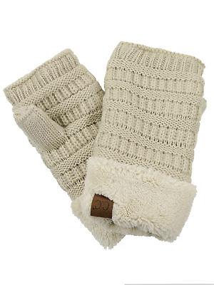 New! C.C Women's Warm Knit Fingerless Half Finger Fleece Lined Winter - Womens Fingerless Gloves