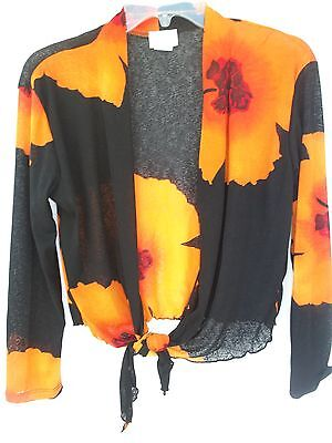 Orange Travel Jacket - JOSTAR TRAVEL KNIT SLINKY  BOLERO  JACKET         SM      ORANGE HIBISCU