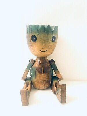 Groot Wood Handmade Sitting Statue Poppet Collectable Deco carved Figure