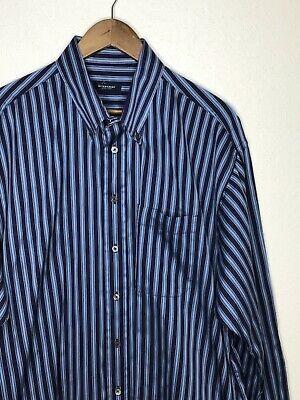 Mens Burberry London Striped Dress Shirts Sz XL Blue