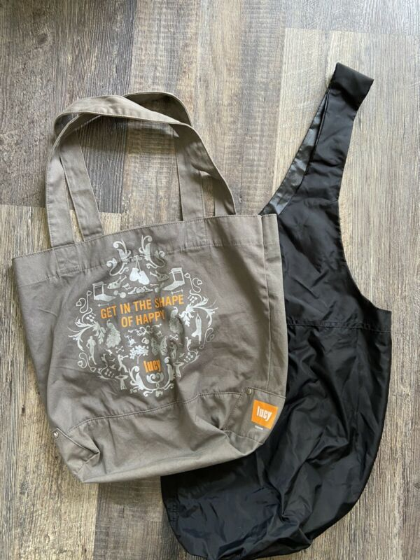 Yogi Yoga Mat Bag Fitness Theme Pair Lot Tote Gym Lucy Brand Grey Black