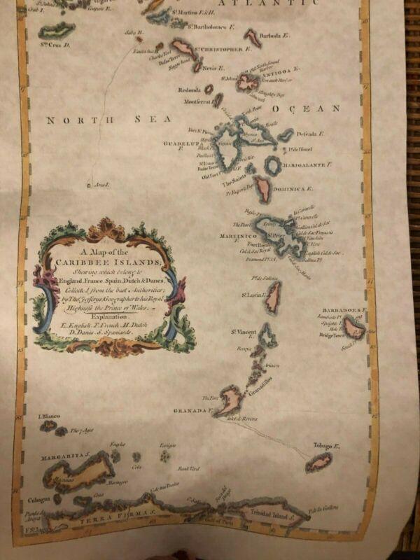 map of Caribee Islands Caribbean Antilles West Indies JEFFREYS 1756