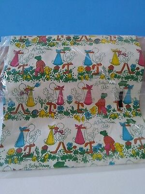 Vintage Baby Shower Stork Gift Wrap Wrapping Paper Nos USA Made scrap book craft - Baby Shower Wrapping Paper