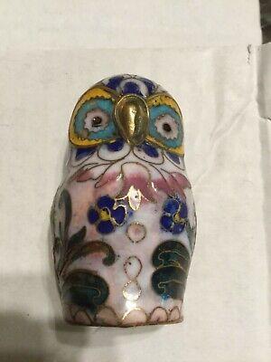Older Cloisonné Style Miniature Small Owl Figurine Statue Very Cute Bird Figure