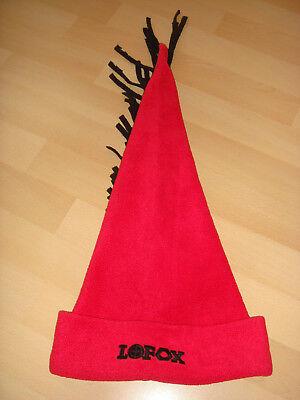 lustige Damen Mütze rot mit schwarzen Bändern - Lustige Mütze