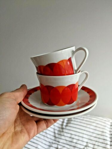 1970s RETRO Vintage Circles Scherzer Bavaria Pair of Coffee Cups & Saucers 4 pcs