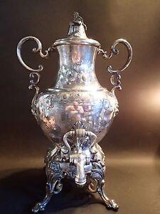 Large Vintage Silverplate Samovar Hot Water Coffee Pot Urn with Burner