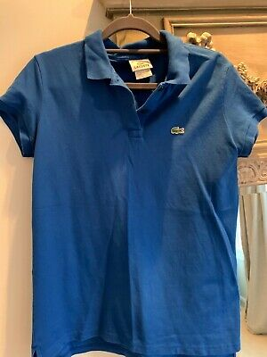 Lacoste Womens Shirt Sz 42 US 8 L Devanlay Blue S/S Stretch Polo Shirt Top