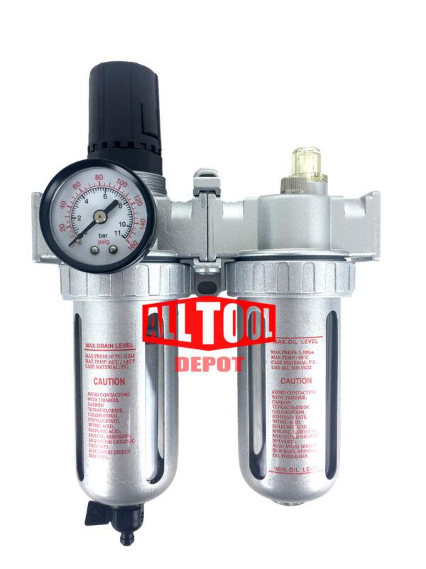 "1/2"" Mid Flow Air Moisture Filter Regulator Oiler Separator Lubricator Combo"