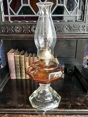 Antique-Victorian-Superb Pressed & Cut Clear Glass Decorative Oil Lamp-c1880