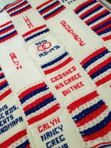 vintage afghan throw cover one of a kind unique family heirloom patriotic usa
