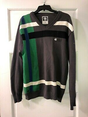 G-Star Raw Sweater Sweatshirt XL Gray Green White Blue Long Sleeve Mens 90s for sale  Hellertown