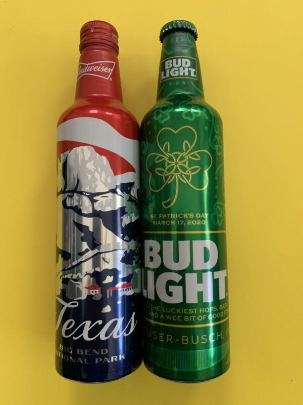 Budweiser TEXAS & Bud Light 2020 ST. PATRICKS DAY Empty 16oz Aluminum Bottles