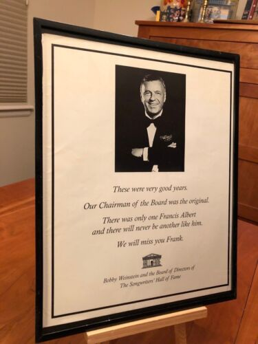 BIG 11X14 FRAMED FRANK SINATRA 1915-1998 CAREER TRIBUTE PROMO AD + 2 TWO-PAGERS!