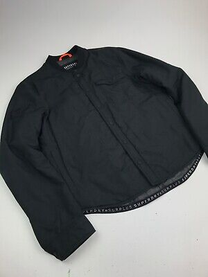Superdry Insulated Button Up Bomber Jacket Black Sz L