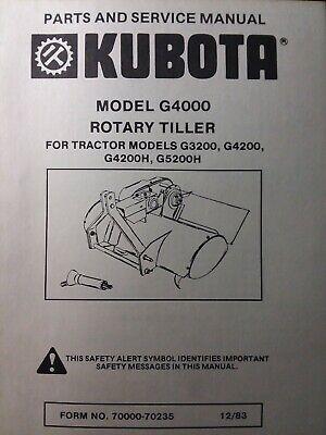 Kubota G5200h G3200 Garden Tractor 3-point Tiller G4000 Service Parts Manual