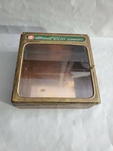 Uneeda Bakers National Biscuit Company Tin Glass Display Box 10.5
