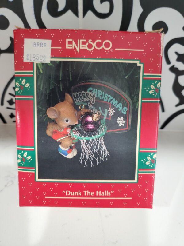 "VTG NOS Enesco Christmas Tree Mouse Ornament ""DUNK THE HALLS"" Basketball Hoop"