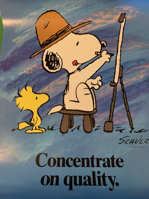 Peanuts Snoopy Super Rare 17x22 Poster Snoopy Woodstock Concentrate
