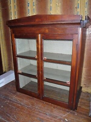Antique wood glass 2 door china cabinet cupboard hutch top piece only stepback  - Glass China Top