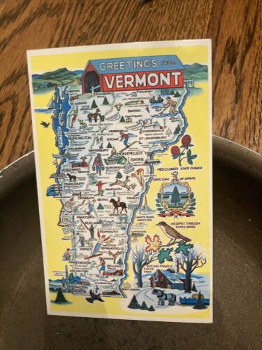 Greetings From VERMONT Vintage Chrome Map Postcard - $1.50