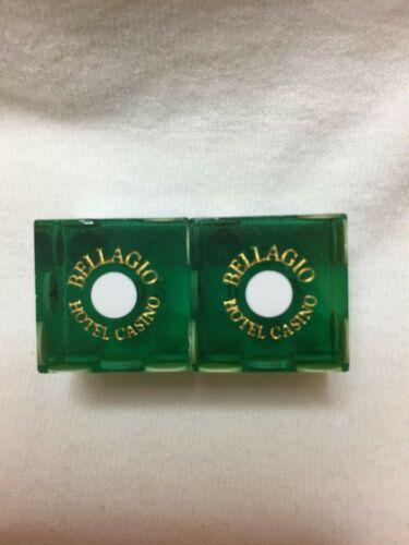 Pair of BELLAGIO LV Casino Dice - Clear Green, Matching #s
