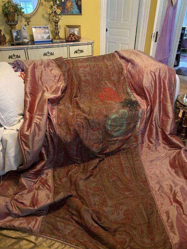"Custom Made Silk Overshot Bedspread ~Pillows OLD Wool Paisley Center 134"" X 82"""