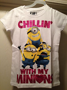 despicable me 2 white minion chillin with girls tee t. Black Bedroom Furniture Sets. Home Design Ideas