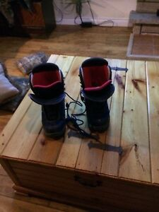Sims snowboard and Ride boots