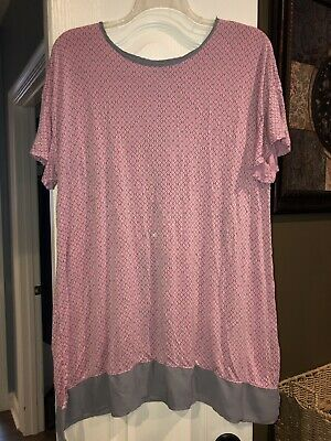 VGUC SIMPLY VERA WANG Women's Pink/Gray Stretch Short Sleeve Night Gown (XL)
