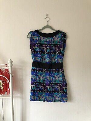100% Silk Mini Dress Size 10 John By John Richmond  Blue Tones Geometric Print
