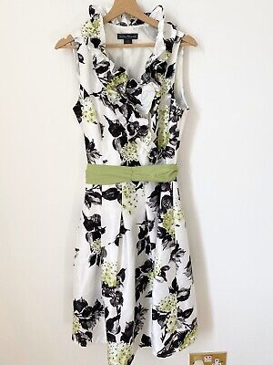 JESSICA HOWARD White Lime Green Black Floral Dress Wedding Bridesmaid Party Uk16
