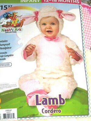 Mary Little Lamb Costume (Baby Lamb Costume Newborn Toddler Mary Had a Little Lamb Halloween Size 12-18)