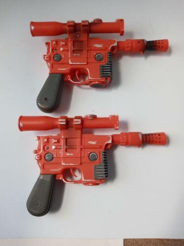 Vintage 1996 Hasbro Star Wars Han Solo DL-44 Orange Blaster Gun Lot of 2 Working