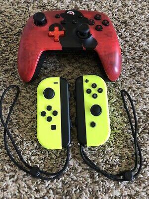 Nintendo Switch Joy-Con (L/R) Wireless Controllers And Mario PowerA Pro