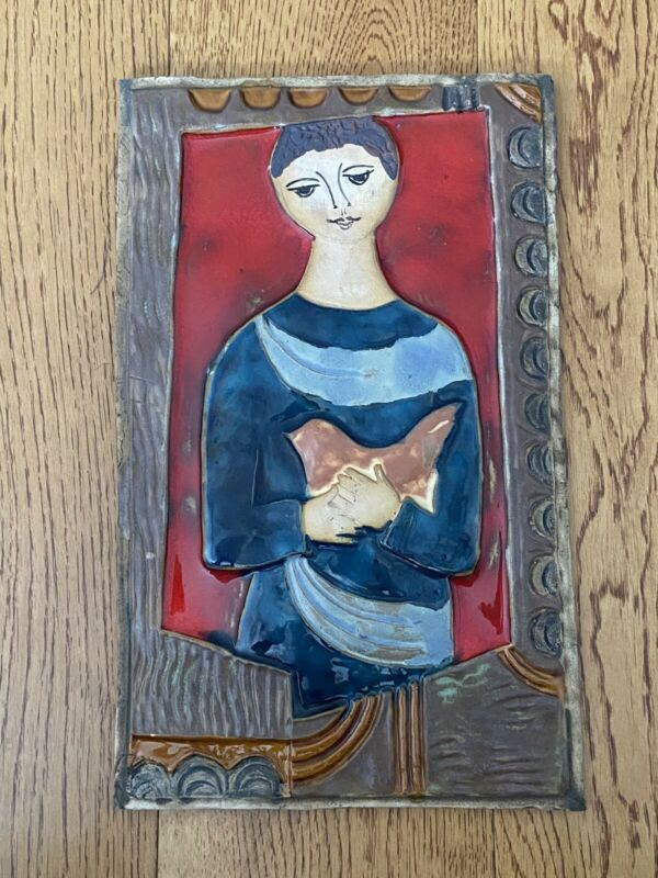 J Ruth Faktor Ceramic Pottery Tile Art. Girl with a dove.  Israel