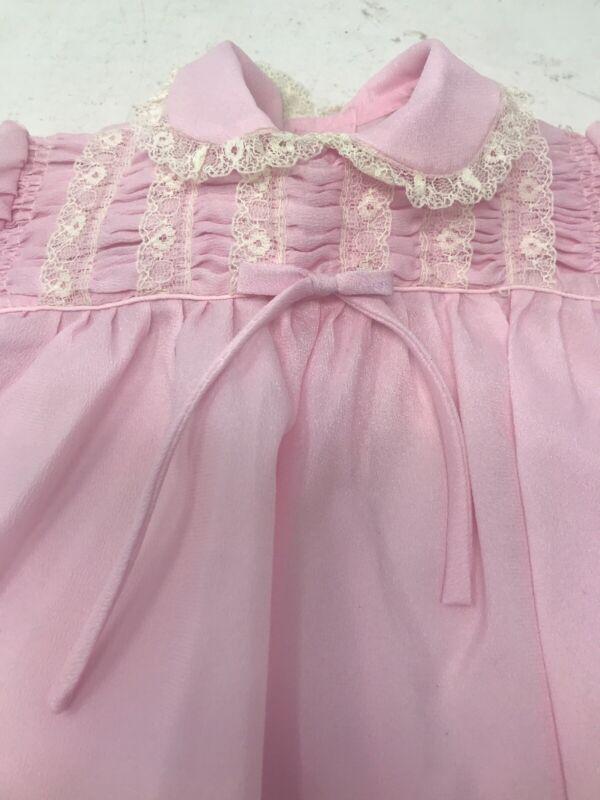 Vintage Infant Baby Dress Smocked Crepe Pink Party 6-9 months