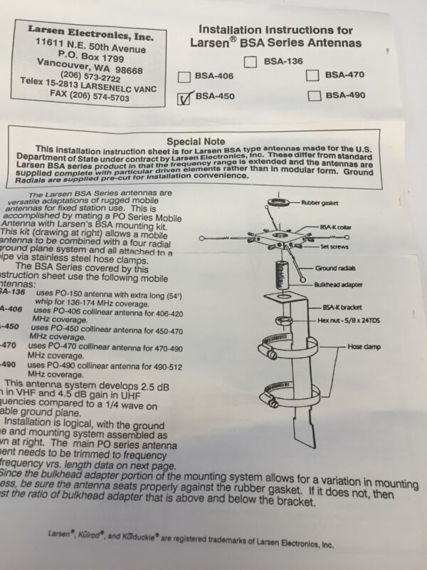 Details about Larsen BSA 450 High Gain GMRS base station /Repeater Antenna  Easy Install F/S
