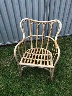 Wicker cane armchair