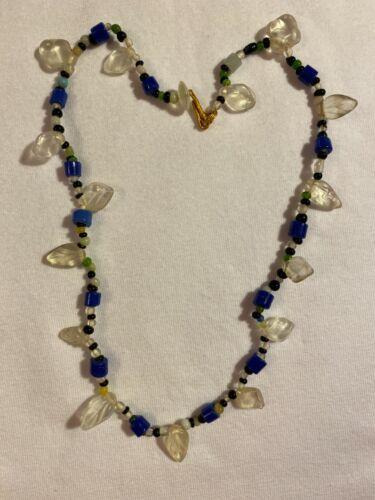 "Vintage Czech Glass Mardi Gras Bead Necklace Clear Leaf, Dark Blue, Teal 17"""