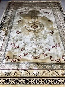 Gorgeous large  hand made silk area rug .