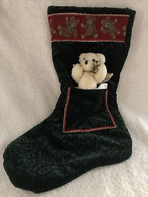 """Green Brocade Velvet Angel Teddy Bear Christmas Stocking New 16"""""""
