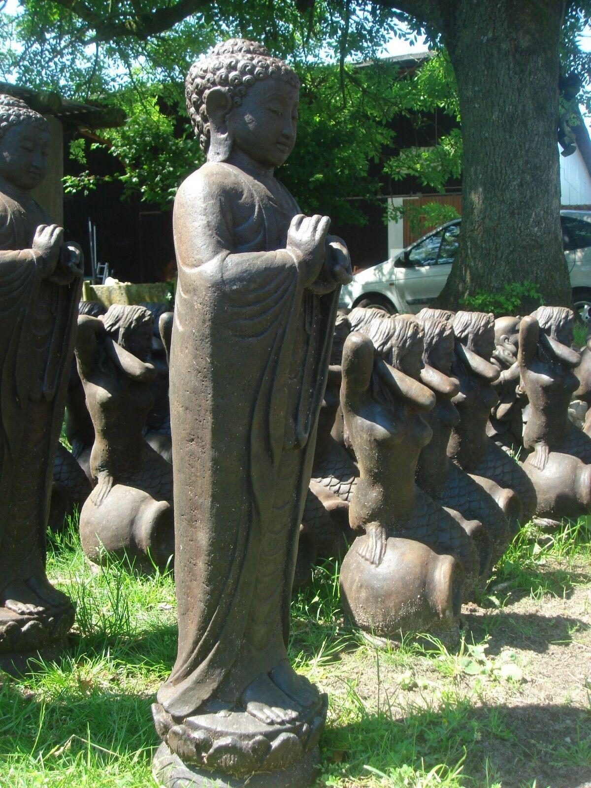 Buddha Steinfigur stehend aus Bali massiv 75 cm Höhe XXL Garten Teich frostfest