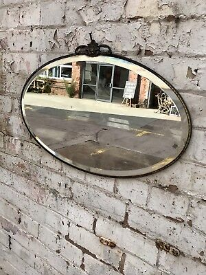 Vintage 30's 40's Distressed Oval Bevelled Brass Frame Wall Mirror Art Nouveau